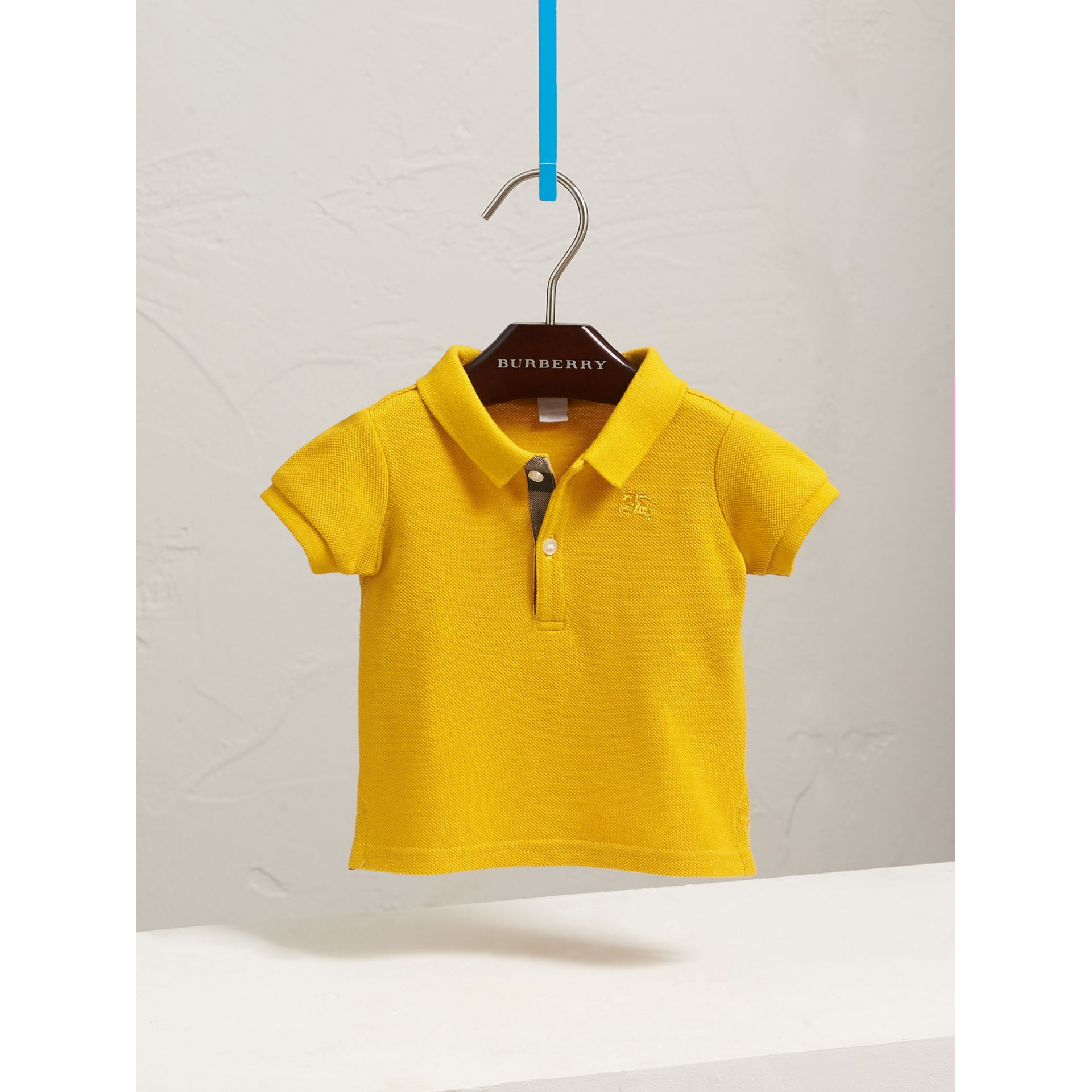 Check Placket Polo Shirt in Amber Yellow | Burberry - gallery image 3