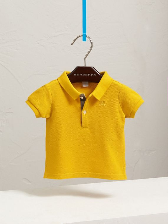 Check Placket Polo Shirt in Amber Yellow | Burberry - cell image 2