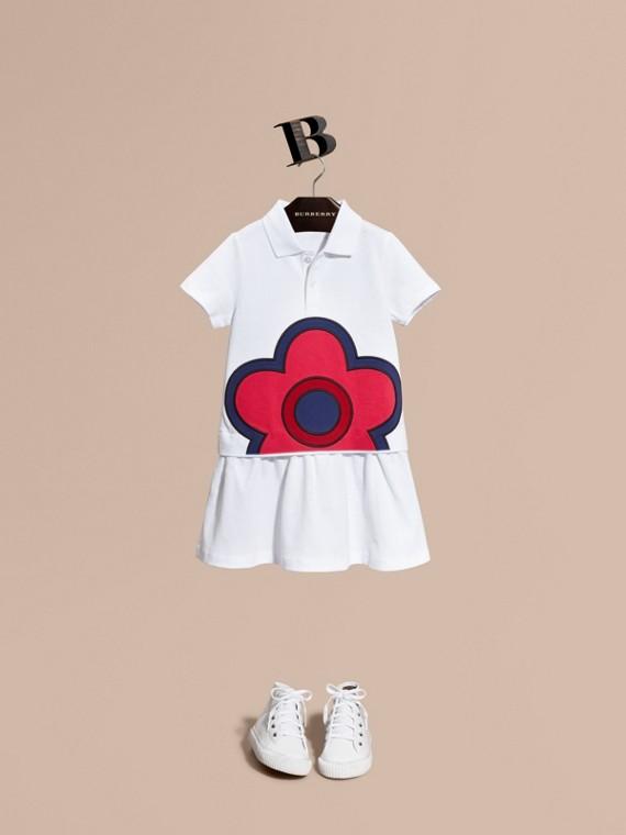 플로럴 아플리케 디테일 코튼 셔츠 드레스