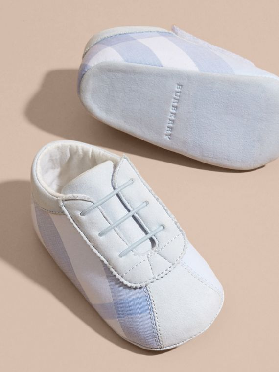 Check Cotton and Leather Slip-on Booties in Ice Blue - Children | Burberry - cell image 2