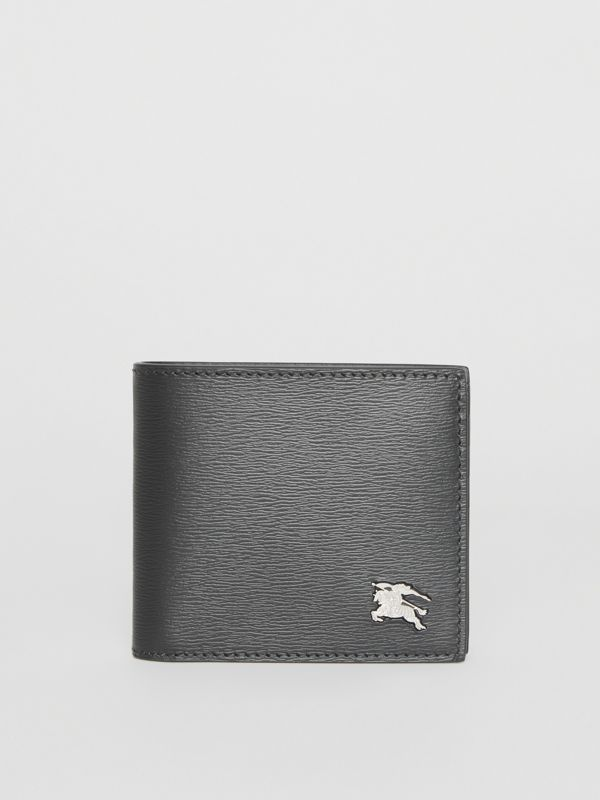 EKD London Leather Bifold Wallet with ID Card Case in Black - Men | Burberry Australia - cell image 2