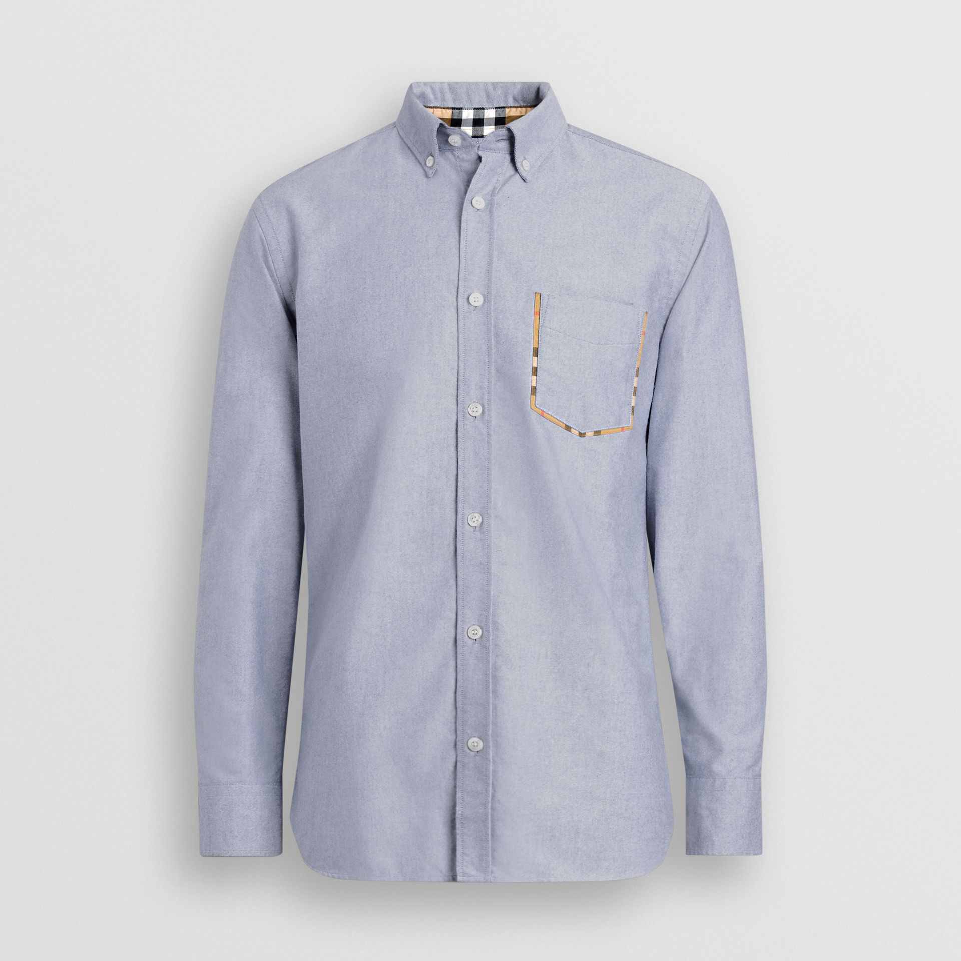 Check Detail Cotton Oxford Shirt in Mineral Blue - Men | Burberry Canada - gallery image 3