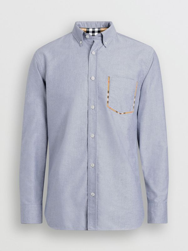 Check Detail Cotton Oxford Shirt in Mineral Blue - Men | Burberry Canada - cell image 3