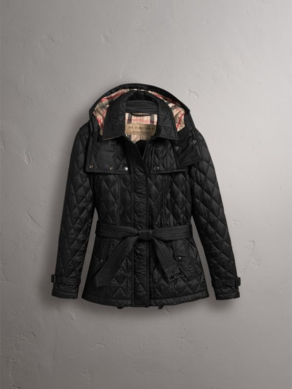 Quilted Trench Jacket with Detachable Hood in Black - Women | Burberry - cell image 3