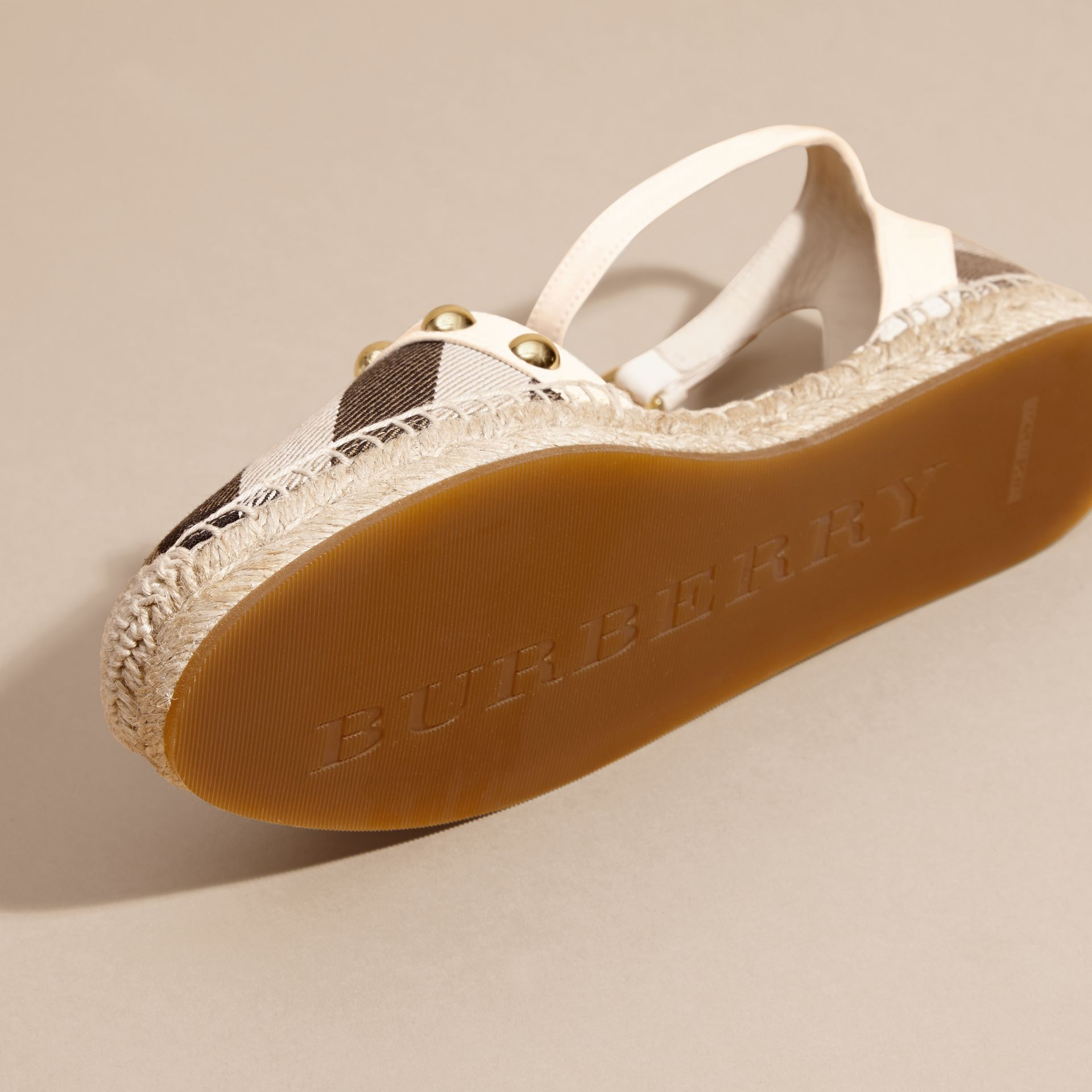 Cream Studded Leather and House Check Espadrille Sandals Cream - gallery image 5