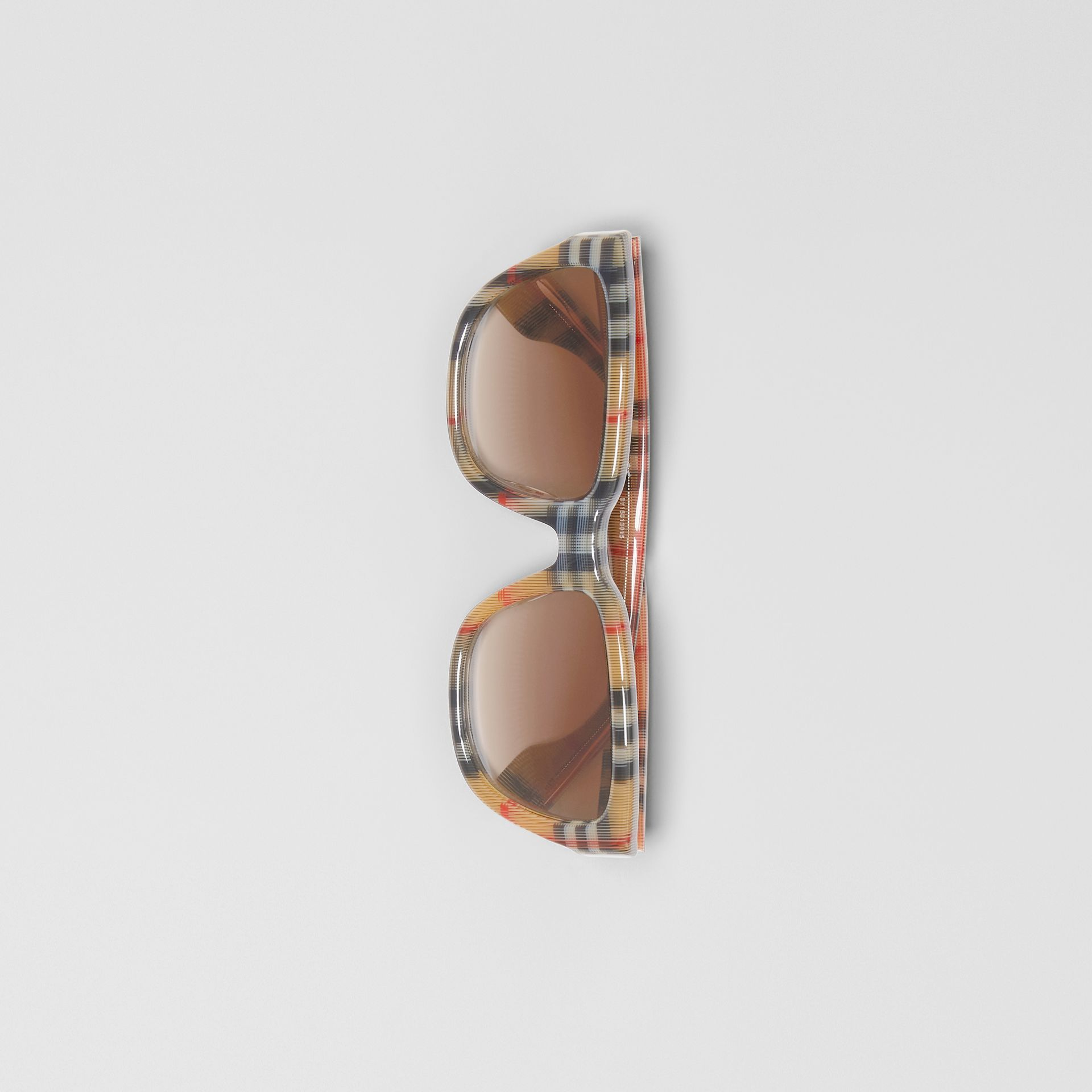 Vintage Check Detail Square Frame Sunglasses in Antique Yellow - Women | Burberry Canada - gallery image 2