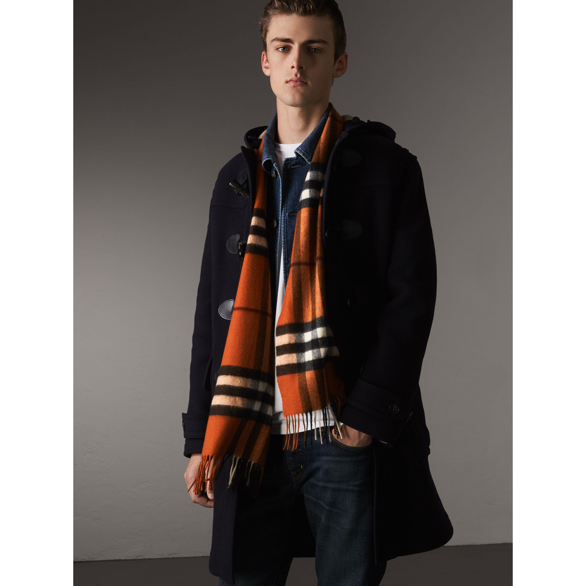The Classic Cashmere Scarf in Check in Burnt Orange | Burberry Australia - gallery image 4