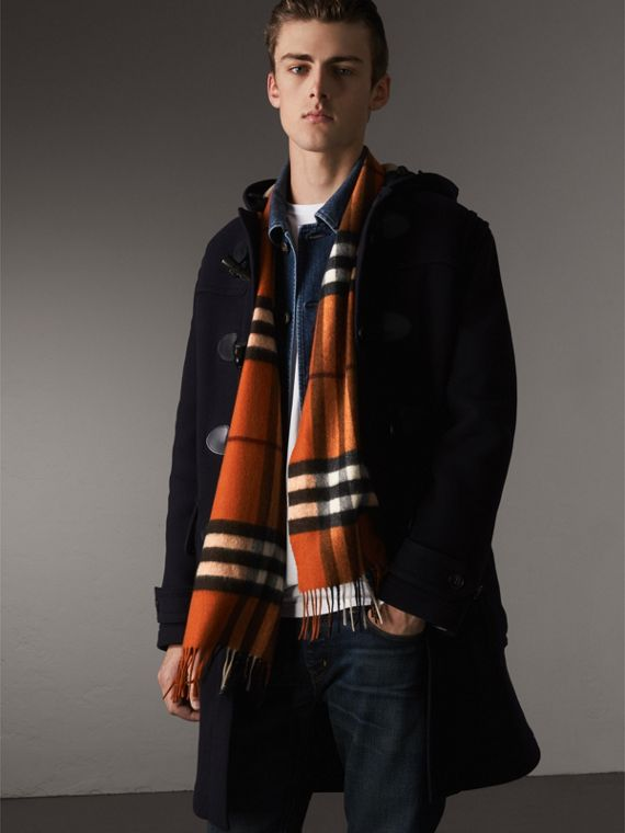 The Classic Cashmere Scarf in Check in Burnt Orange | Burberry - cell image 3