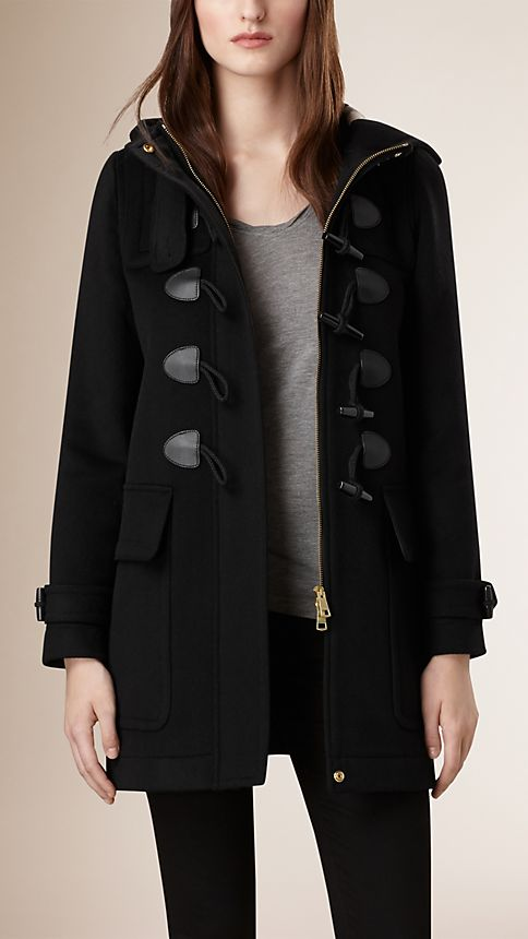 Black Straight Fit Duffle Coat Black - Image 1