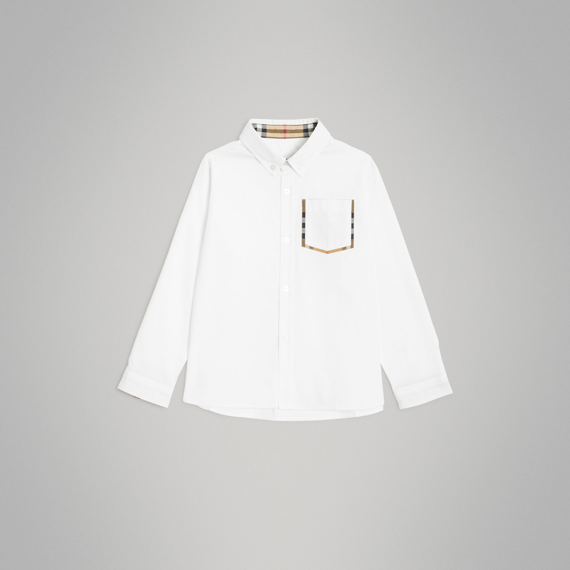 Check Detail Cotton Oxford Shirt in White | Burberry - gallery image 0