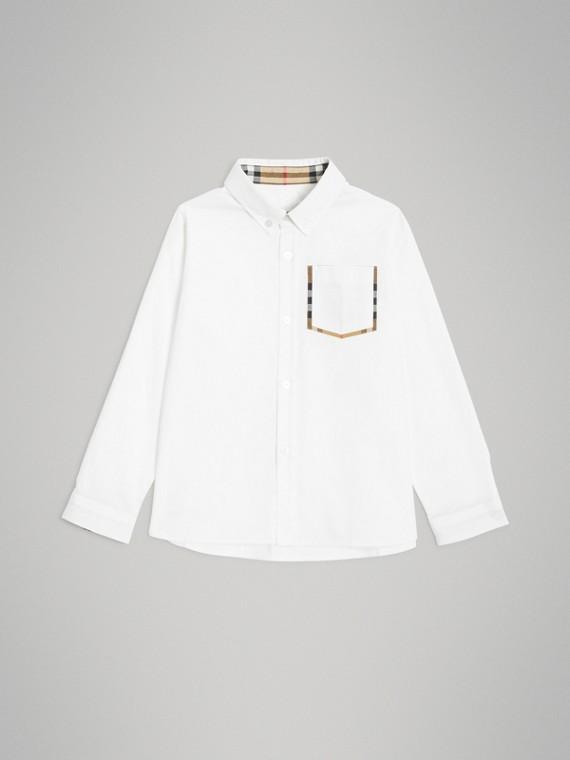 Oxford-Hemd aus Baumwolle mit Karodetail (Weiss)