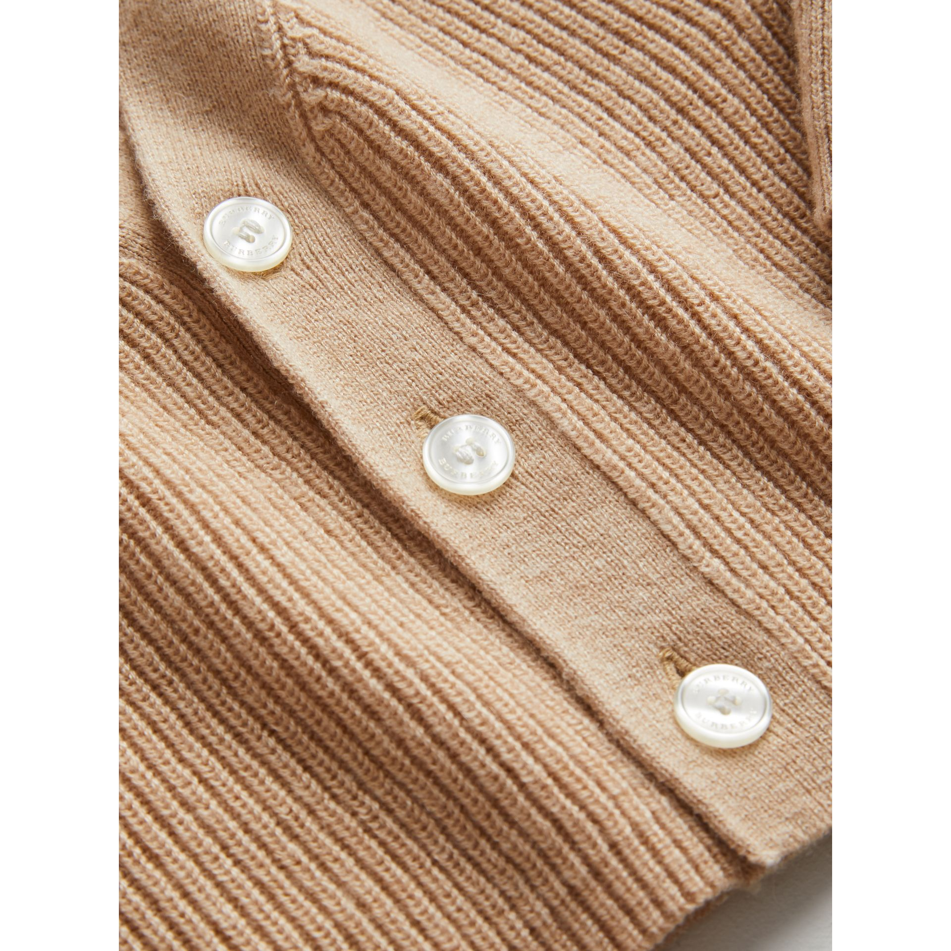 Cashmere Cotton Knit Cardigan in Peach | Burberry - gallery image 1
