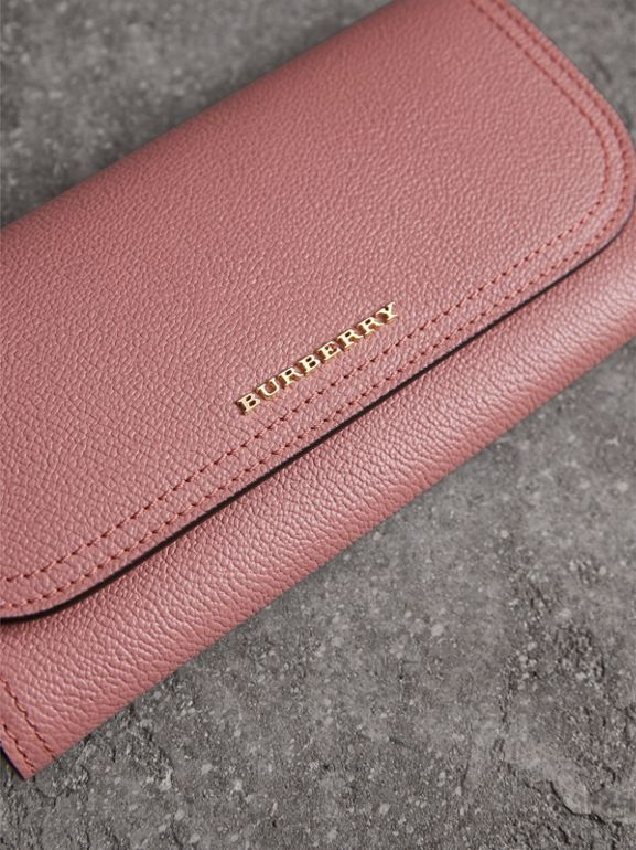 Grainy Leather Slim Continental Wallet in Dusty Pink - Women | Burberry - cell image 1