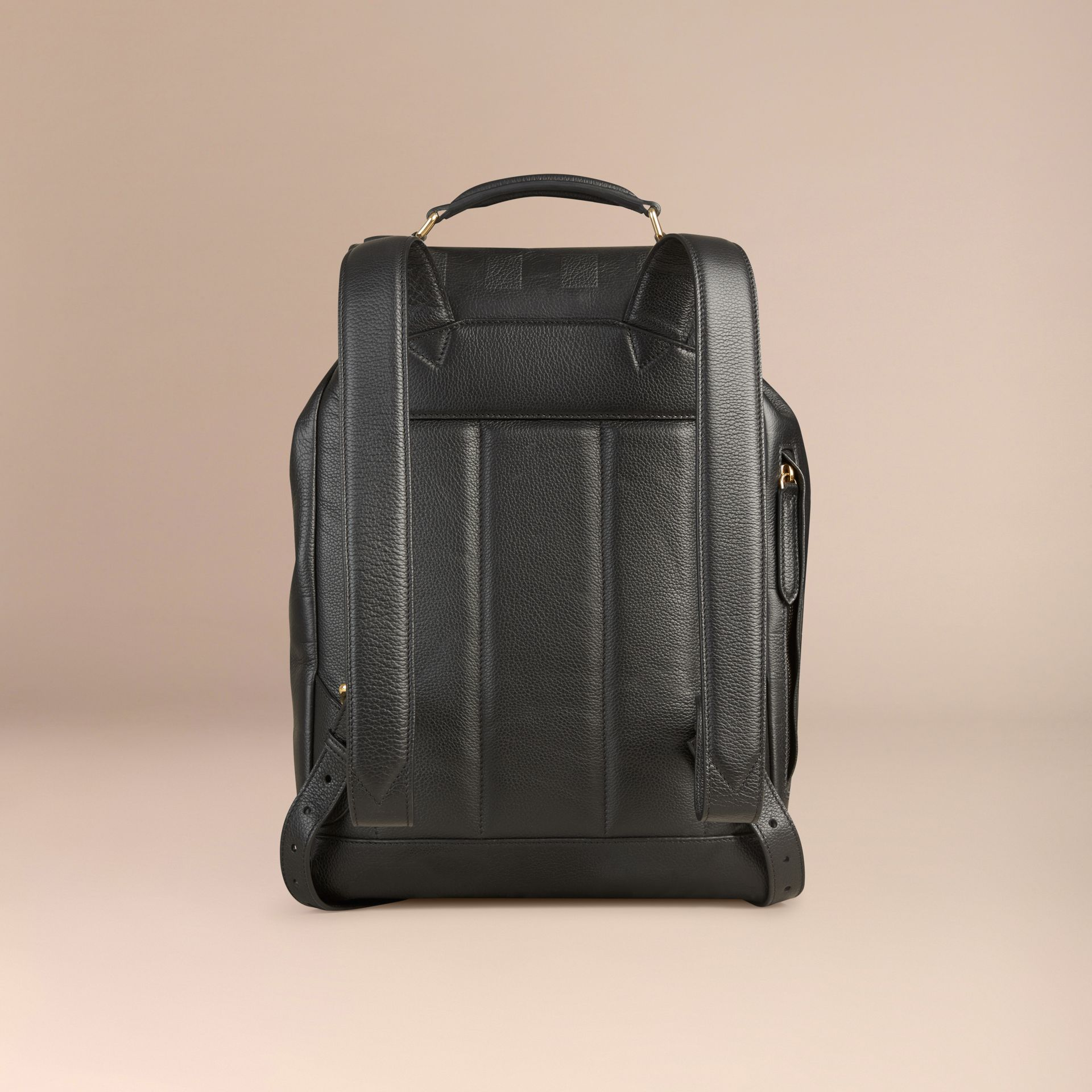 Black Check Embossed Leather Backpack - gallery image 4