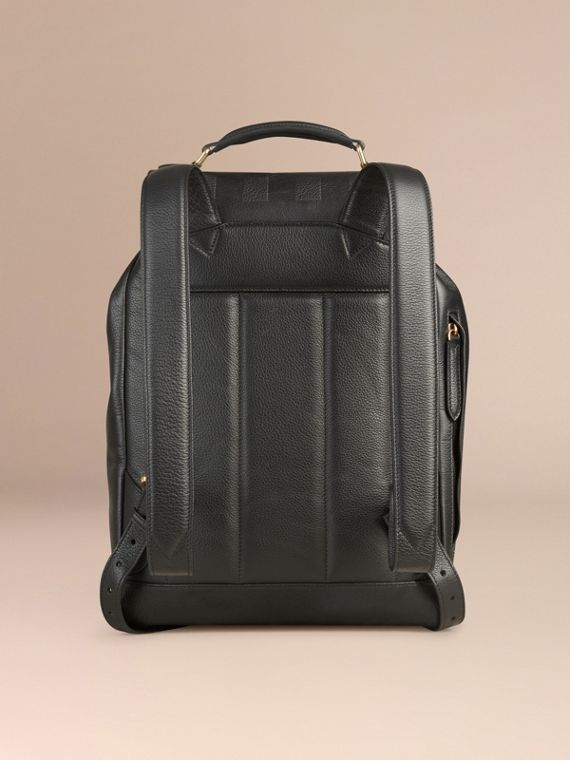 Black Check Embossed Leather Backpack - cell image 3