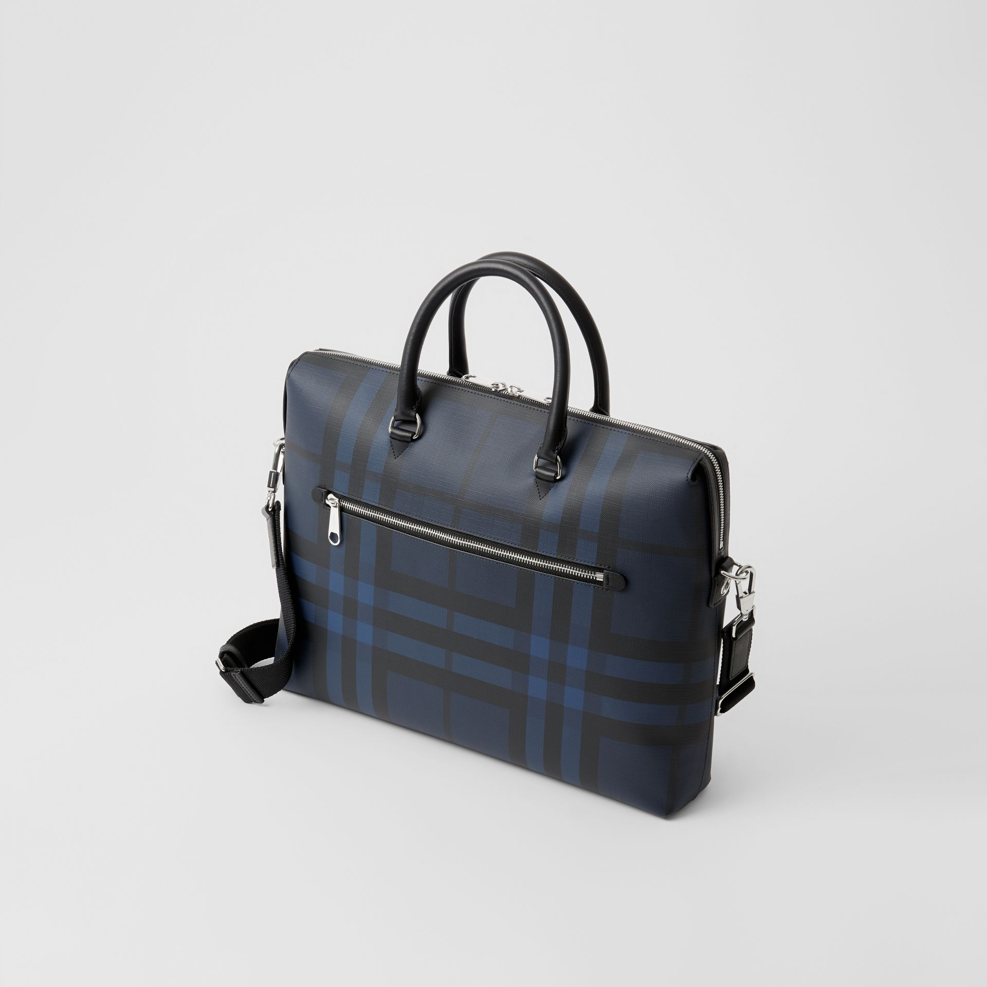 London Check and Leather Briefcase in Navy/black - Men | Burberry Singapore - gallery image 2