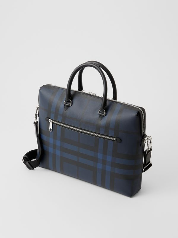 London Check and Leather Briefcase in Navy/black - Men | Burberry Singapore - cell image 2