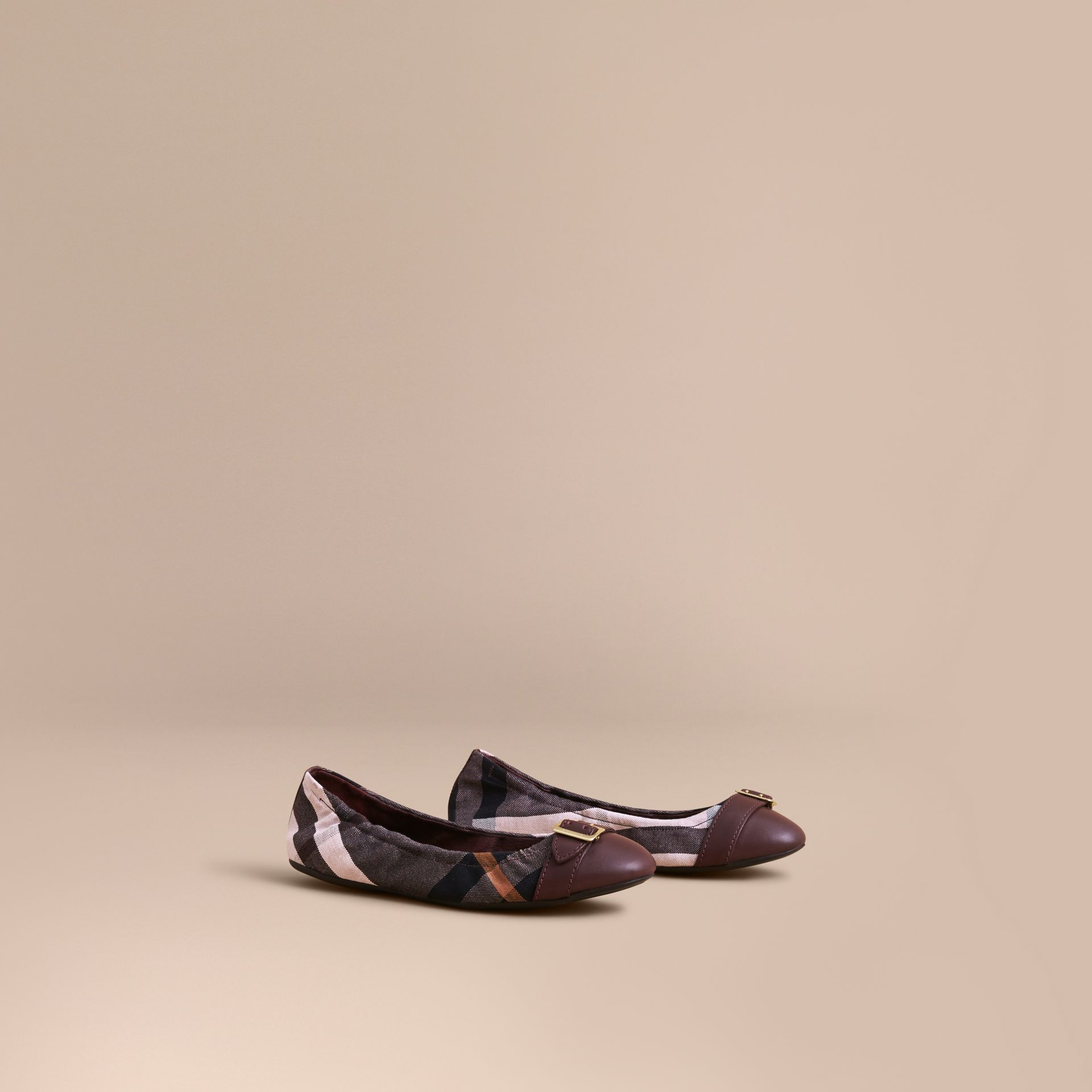 Check Linen Cotton and Leather Ballerinas in Antique Rose - Women | Burberry - gallery image 1