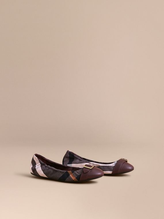 Check Linen Cotton and Leather Ballerinas - Women | Burberry