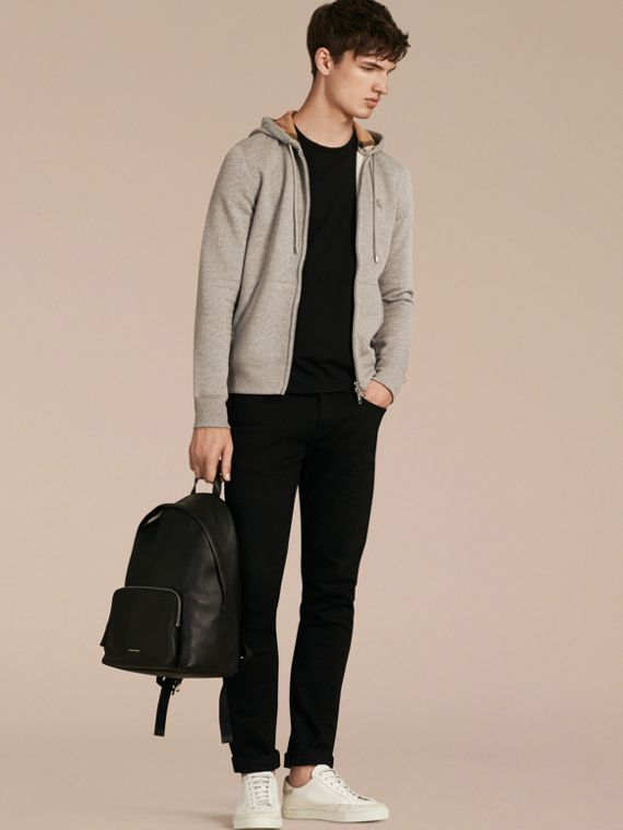 Hooded Cotton Jersey Top in Pale Grey Melange - Men | Burberry Singapore - cell image 3