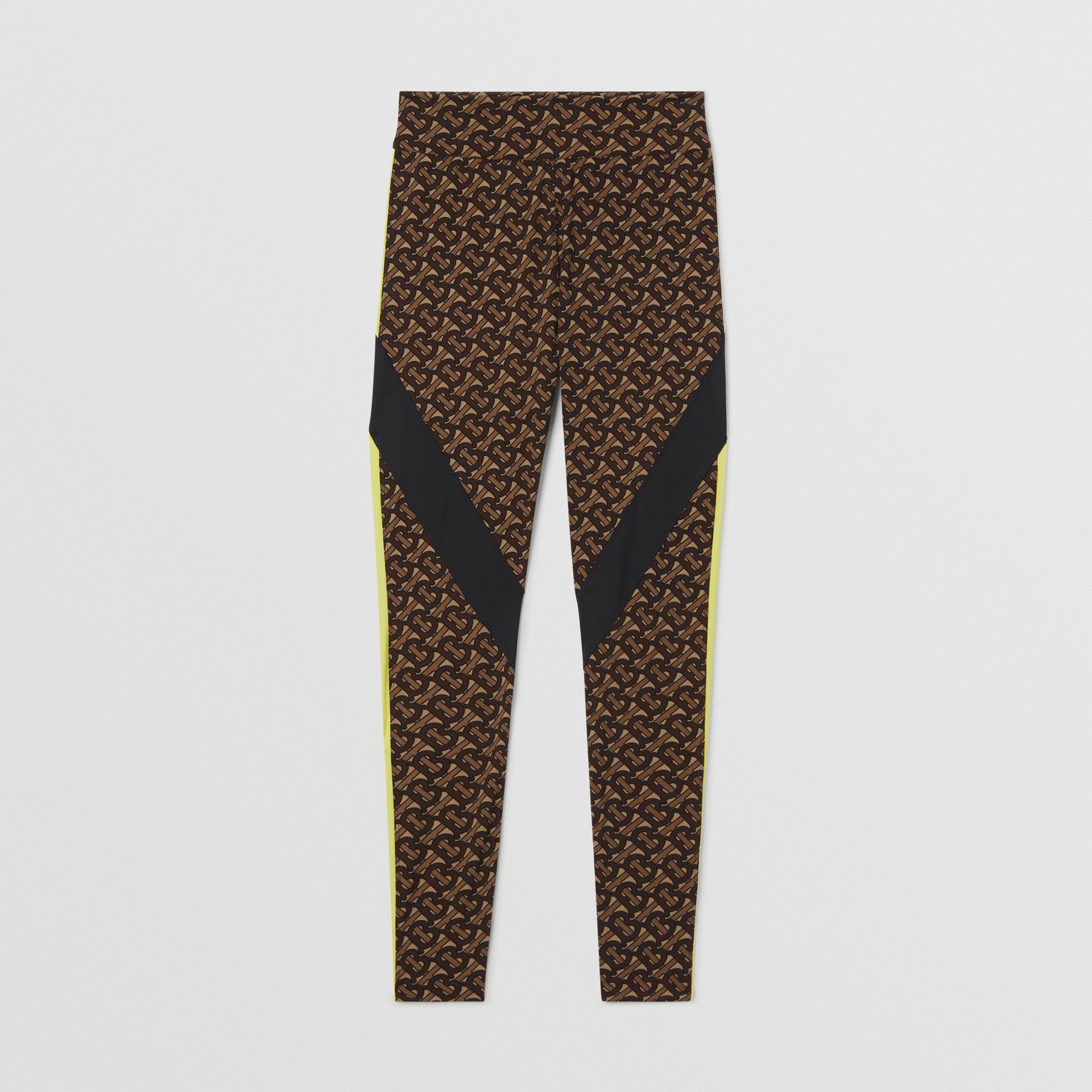 Colour Block Monogram Print Stretch Jersey Leggings in Bridle Brown - Women | Burberry United Kingdom - gallery image 3