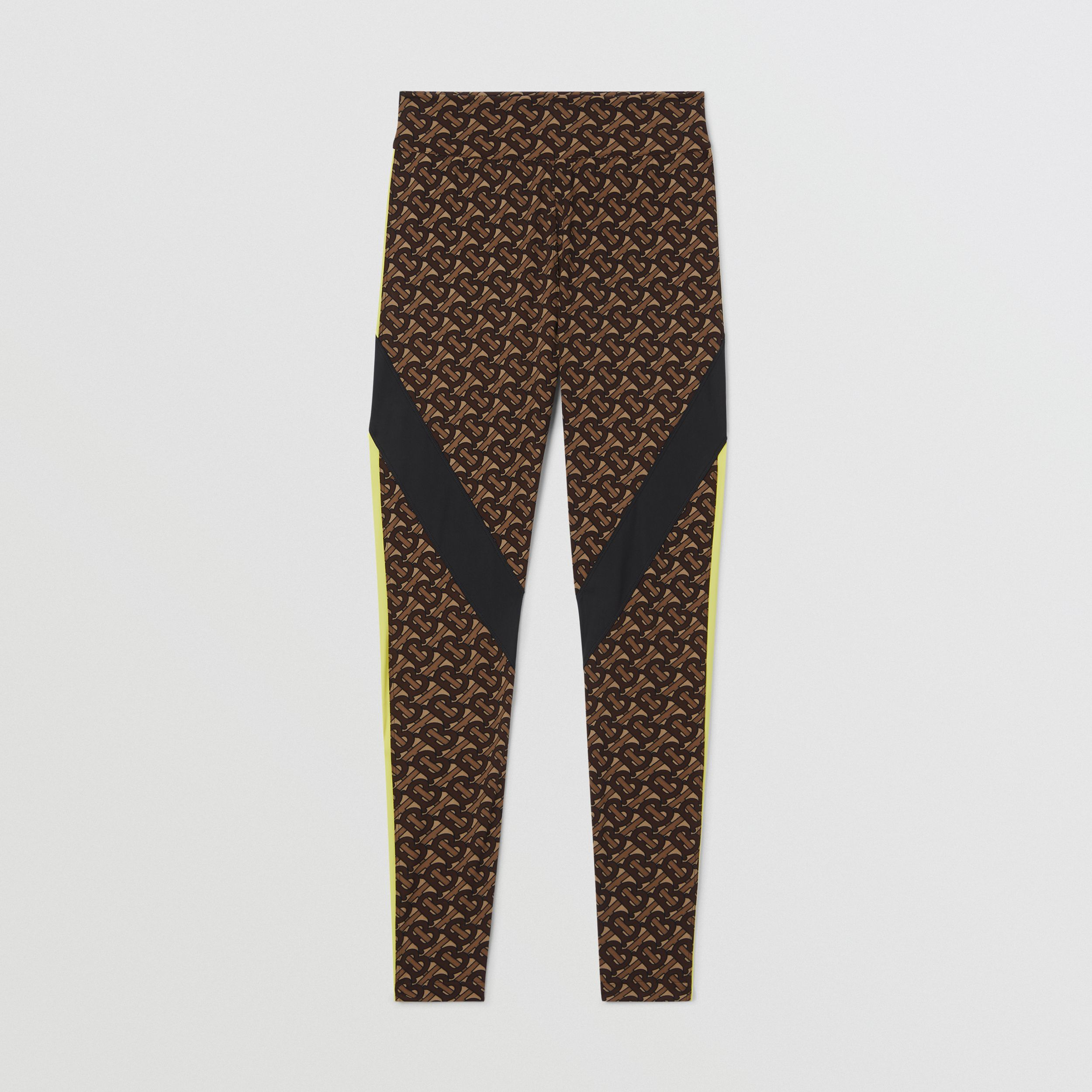 Colour Block Monogram Print Stretch Jersey Leggings in Bridle Brown - Women | Burberry - 4