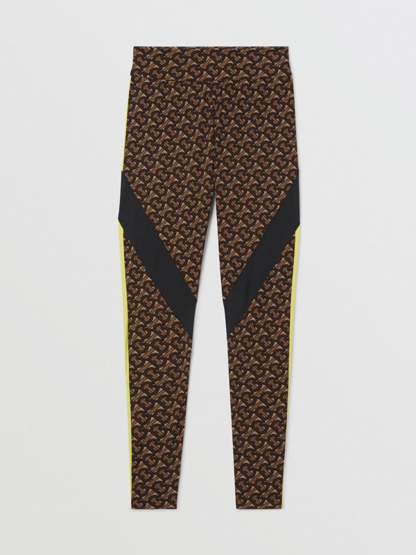Colour Block Monogram Print Stretch Jersey Leggings in Bridle Brown - Women | Burberry United Kingdom - cell image 3