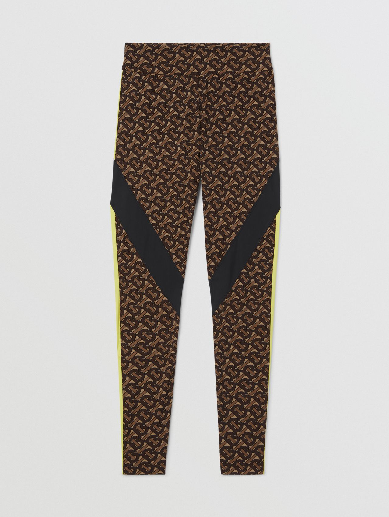 Leggings aus Stretchjersey mit Monogrammmuster und Colour-Blocking-Panels (Lederbraun)