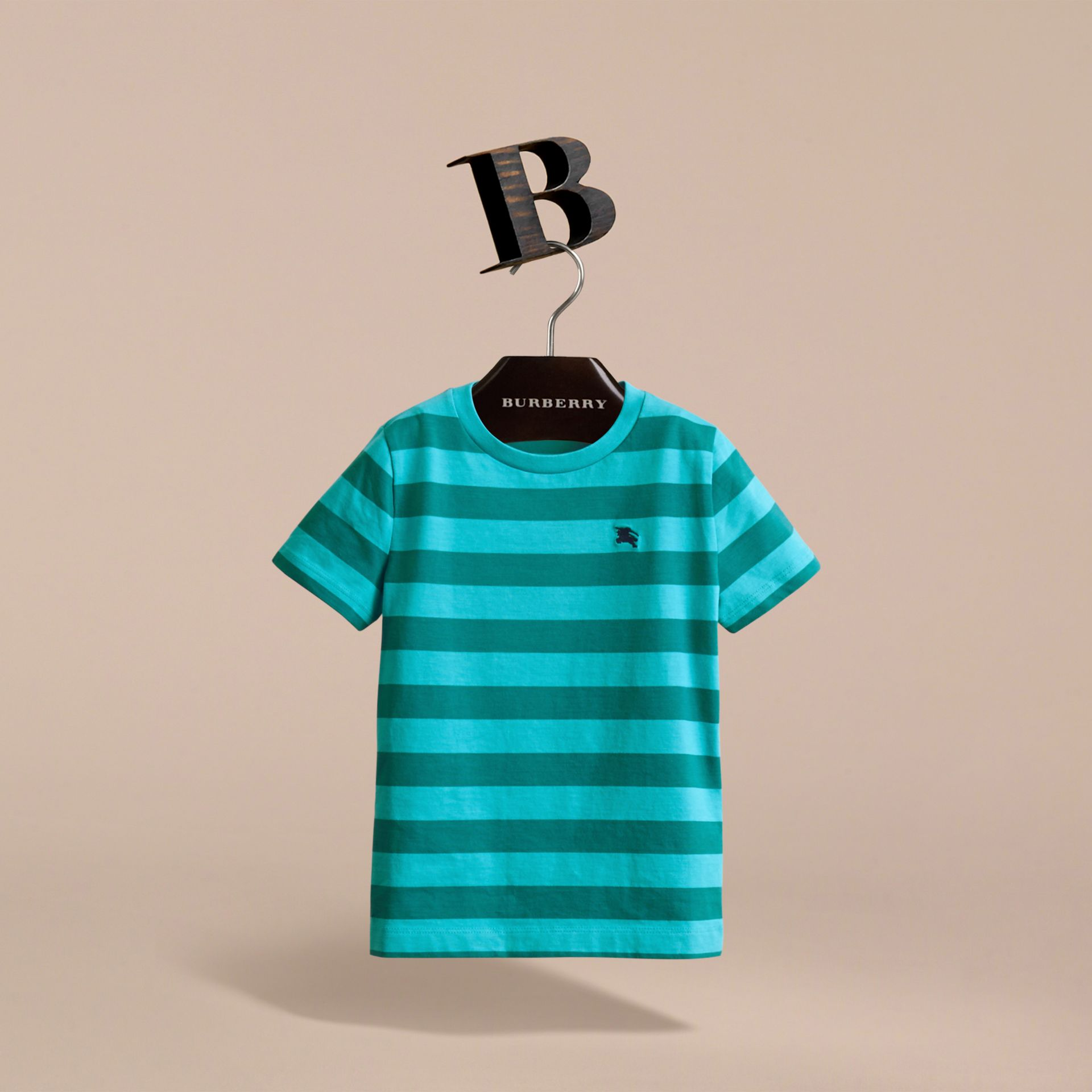 Striped Cotton T-Shirt in Bright Teal/dark Teal - Boy | Burberry - gallery image 3