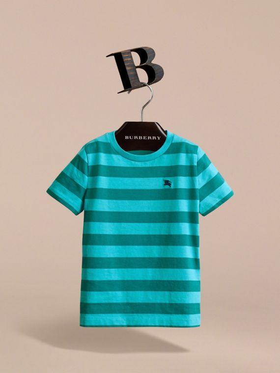 Striped Cotton T-Shirt in Bright Teal/dark Teal - Boy | Burberry - cell image 2