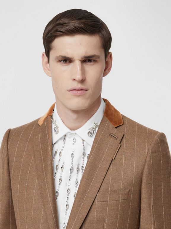Classic Fit Velvet Trim Wool Cashmere Tailored Jacket in Dark Tan - Men | Burberry - cell image 1