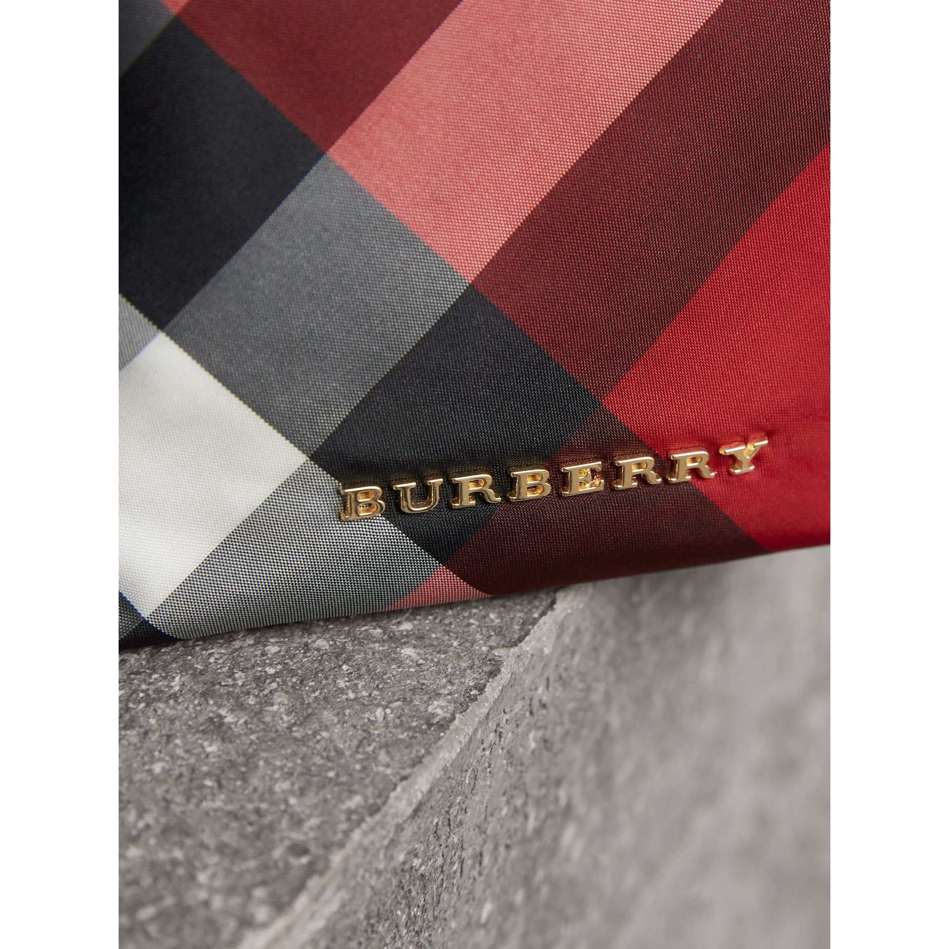 Small Zip-top Check Pouch in Parade Red - Women | Burberry Singapore - gallery image 2