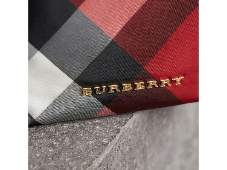 Small Zip-top Check Pouch in Parade Red - Women | Burberry - cell image 1