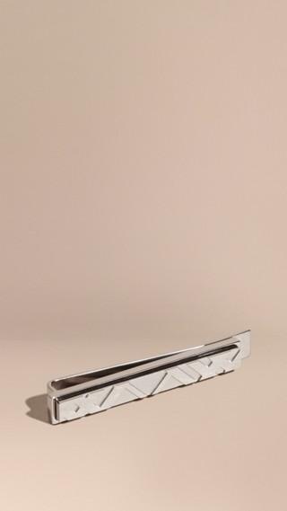 Pince à cravate gravée du motif check