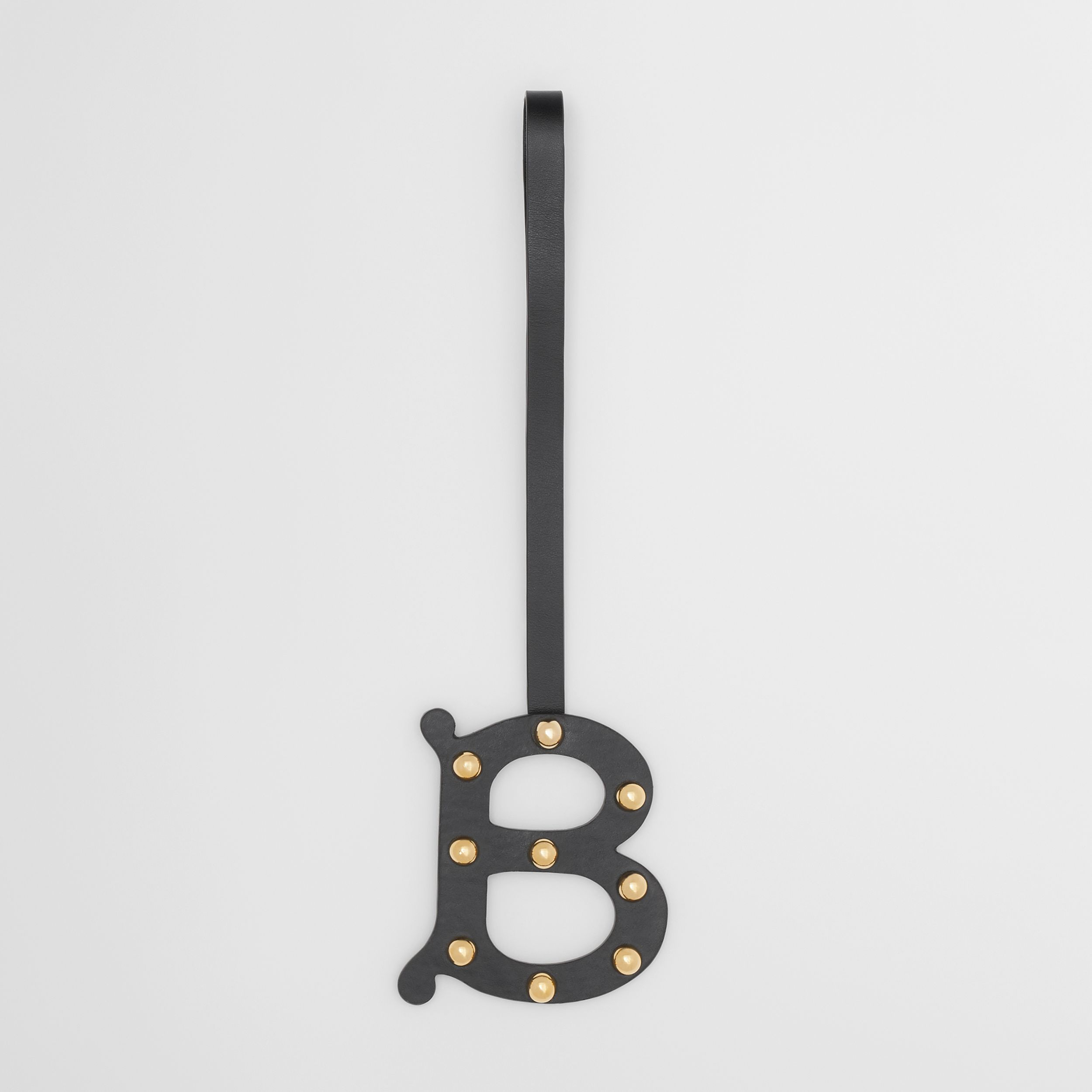 'B' Studded Leather Alphabet Charm in Black/light Gold | Burberry Singapore - 1