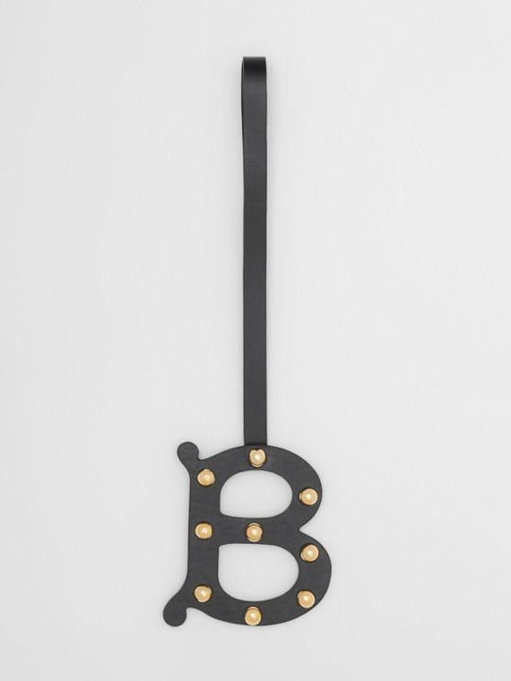 'B' Studded Leather Alphabet Charm in Black/light Gold