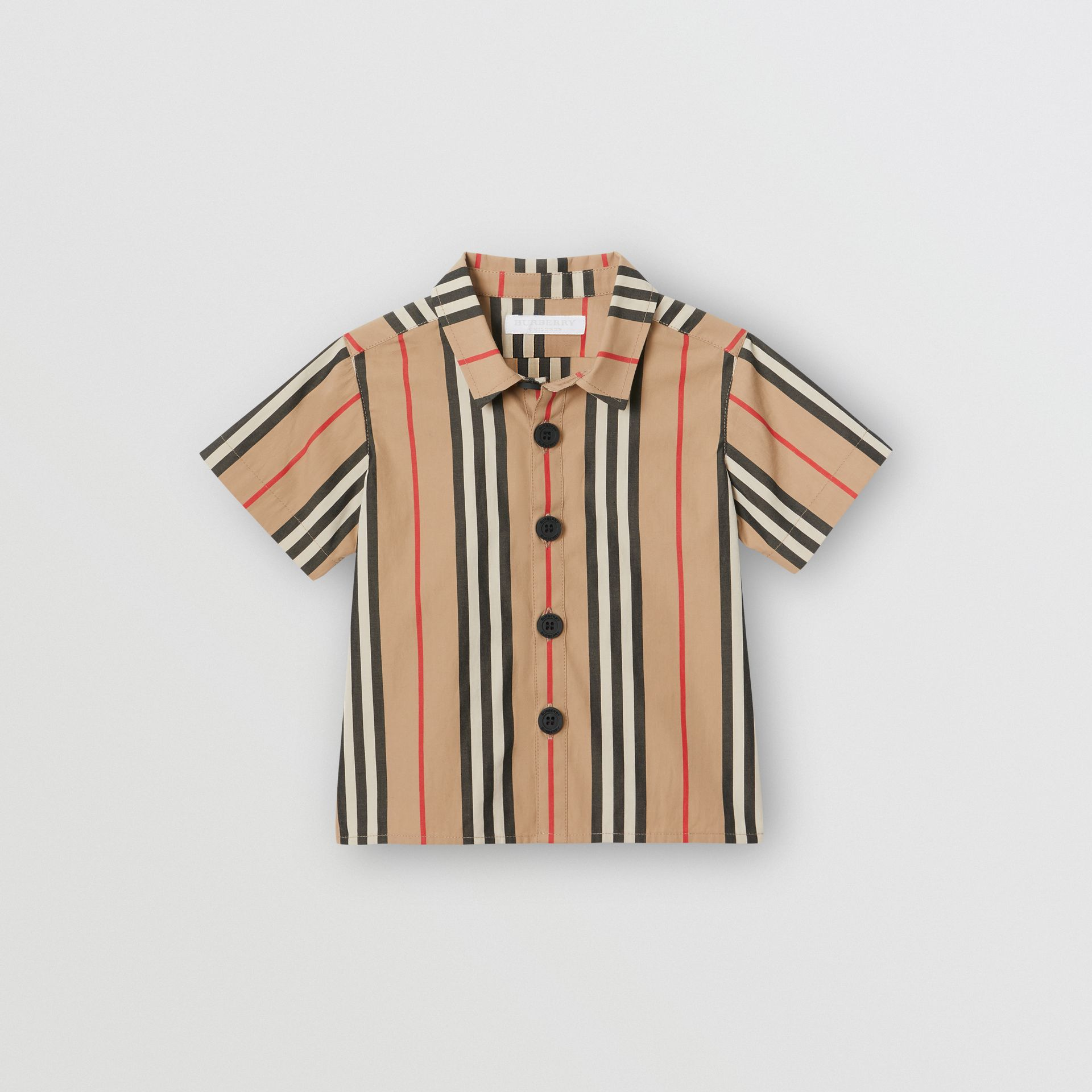 Short-sleeve Icon Stripe Cotton Shirt in Archive Beige - Children | Burberry - gallery image 0