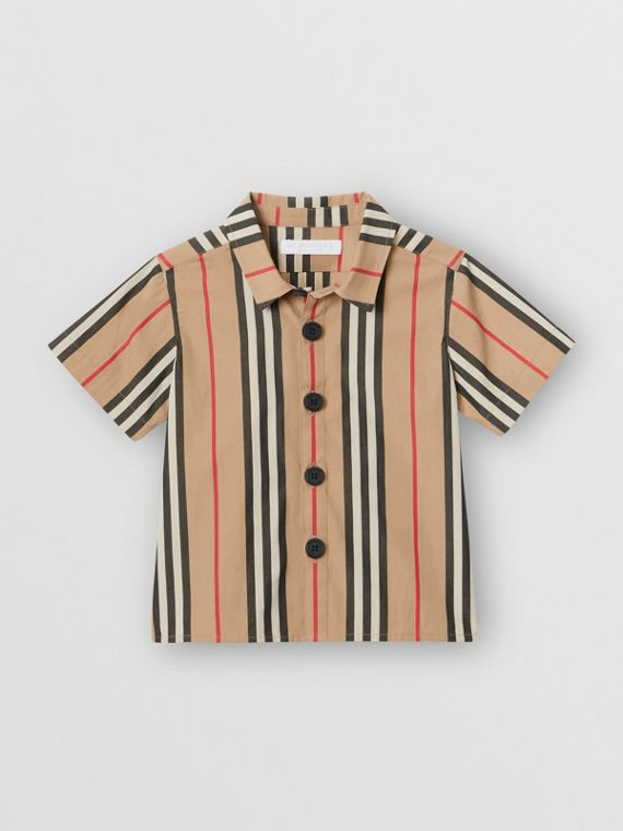 Short-sleeve Icon Stripe Cotton Shirt in Archive Beige