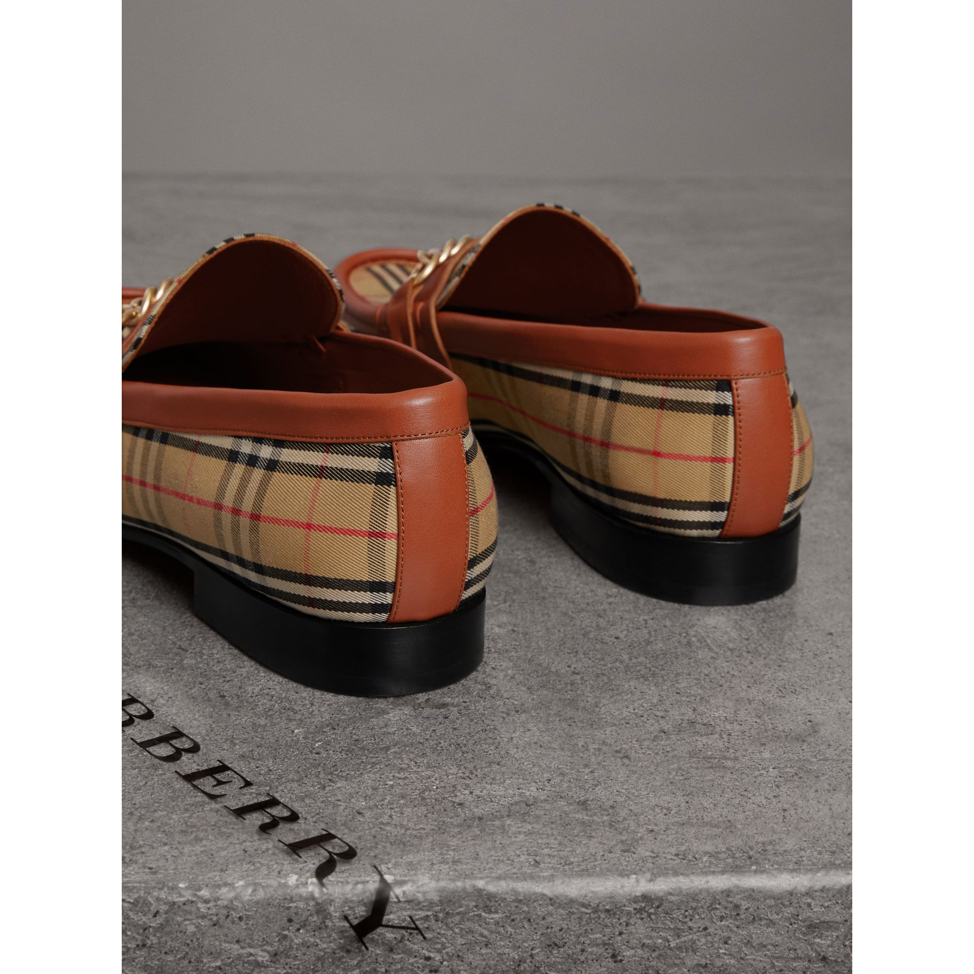 The 1983 Check Link Loafer in Brick Red | Burberry - gallery image 3