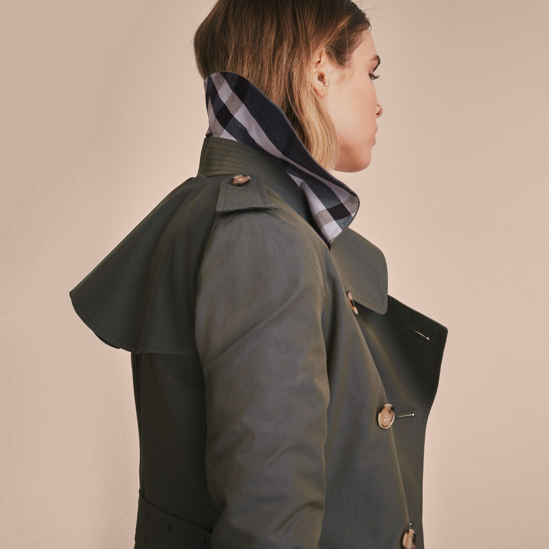 Tropical Gabardine Trench Coat with Ruffle Detail in Storm Blue - Women | Burberry Australia - gallery image 5