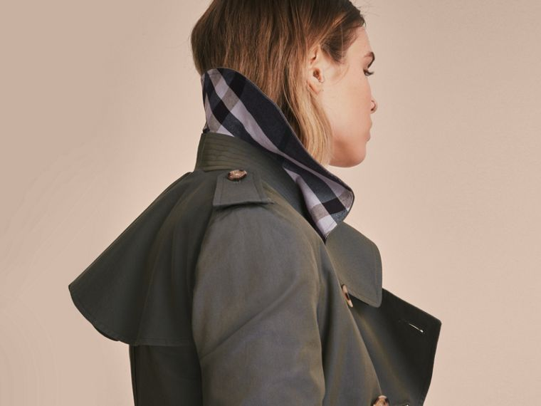 Tropical Gabardine Trench Coat with Ruffle Detail in Storm Blue - Women | Burberry Australia - cell image 4