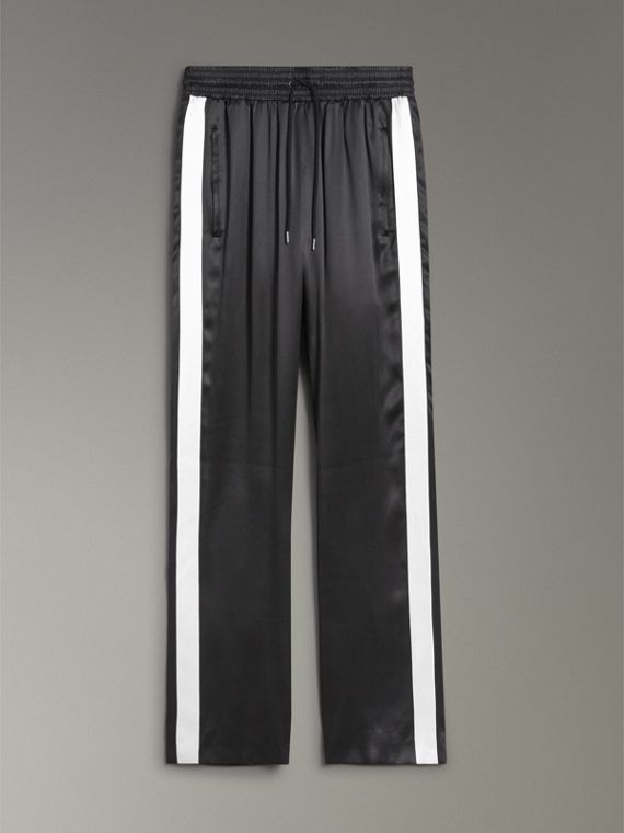 Stripe Detail Silk Satin Tailored Track Pants in Black - Women | Burberry - cell image 3