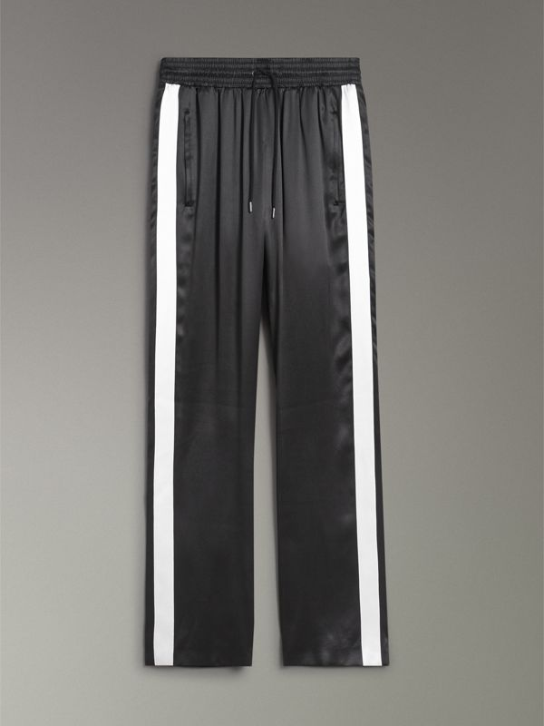 Stripe Detail Silk Satin Tailored Trackpants in Black - Women | Burberry - cell image 3
