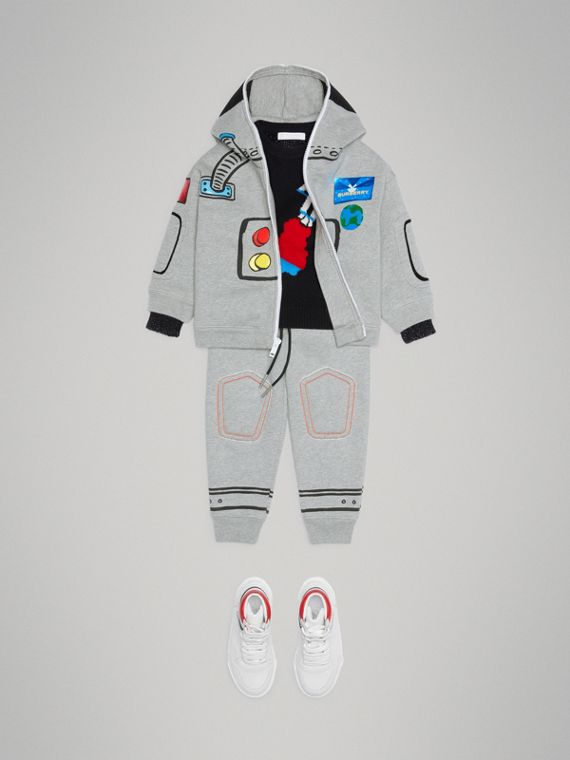 Astronaut Print Jersey Hooded Top in Grey Melange