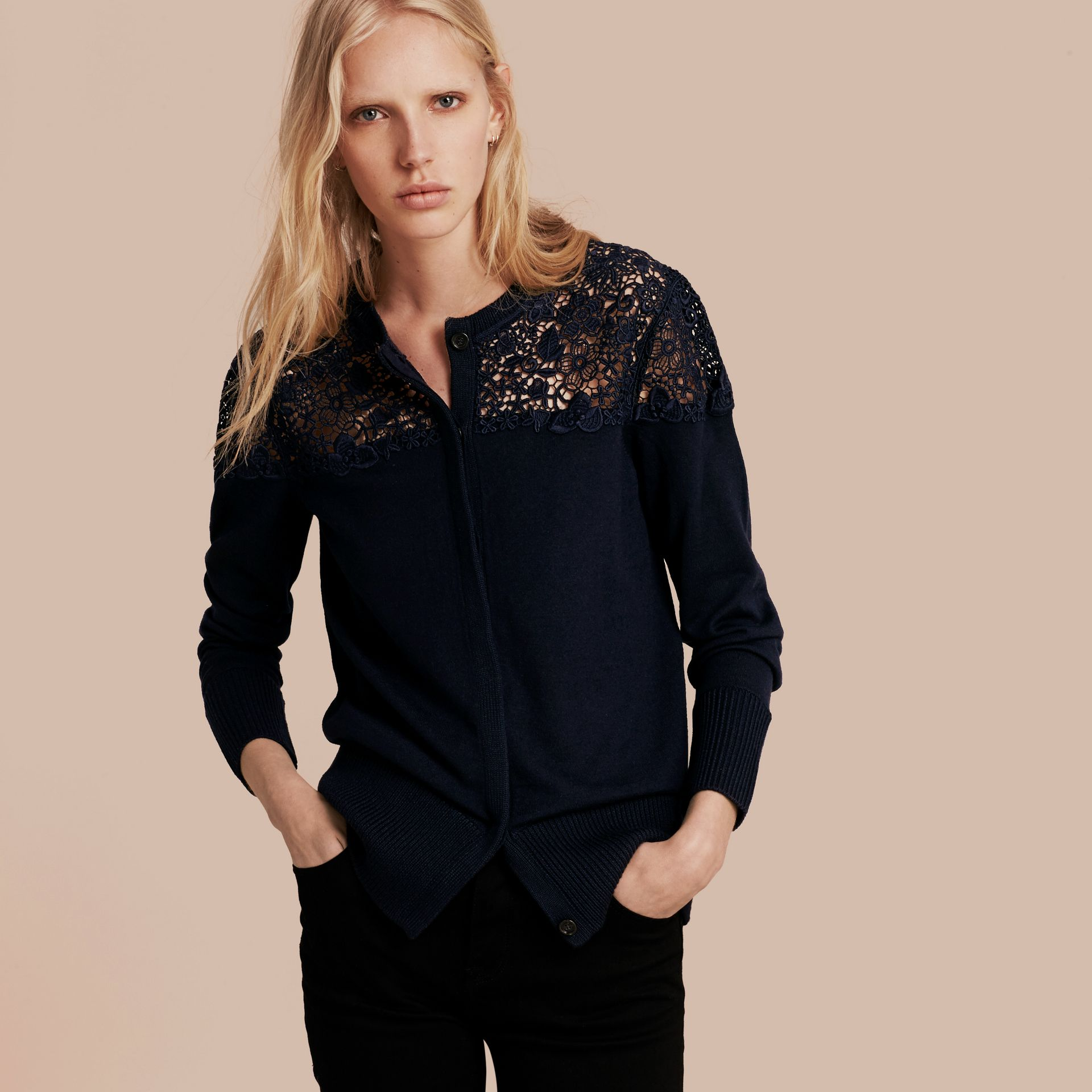 Navy Lace Yoke Merino Wool Cardigan Navy - gallery image 6