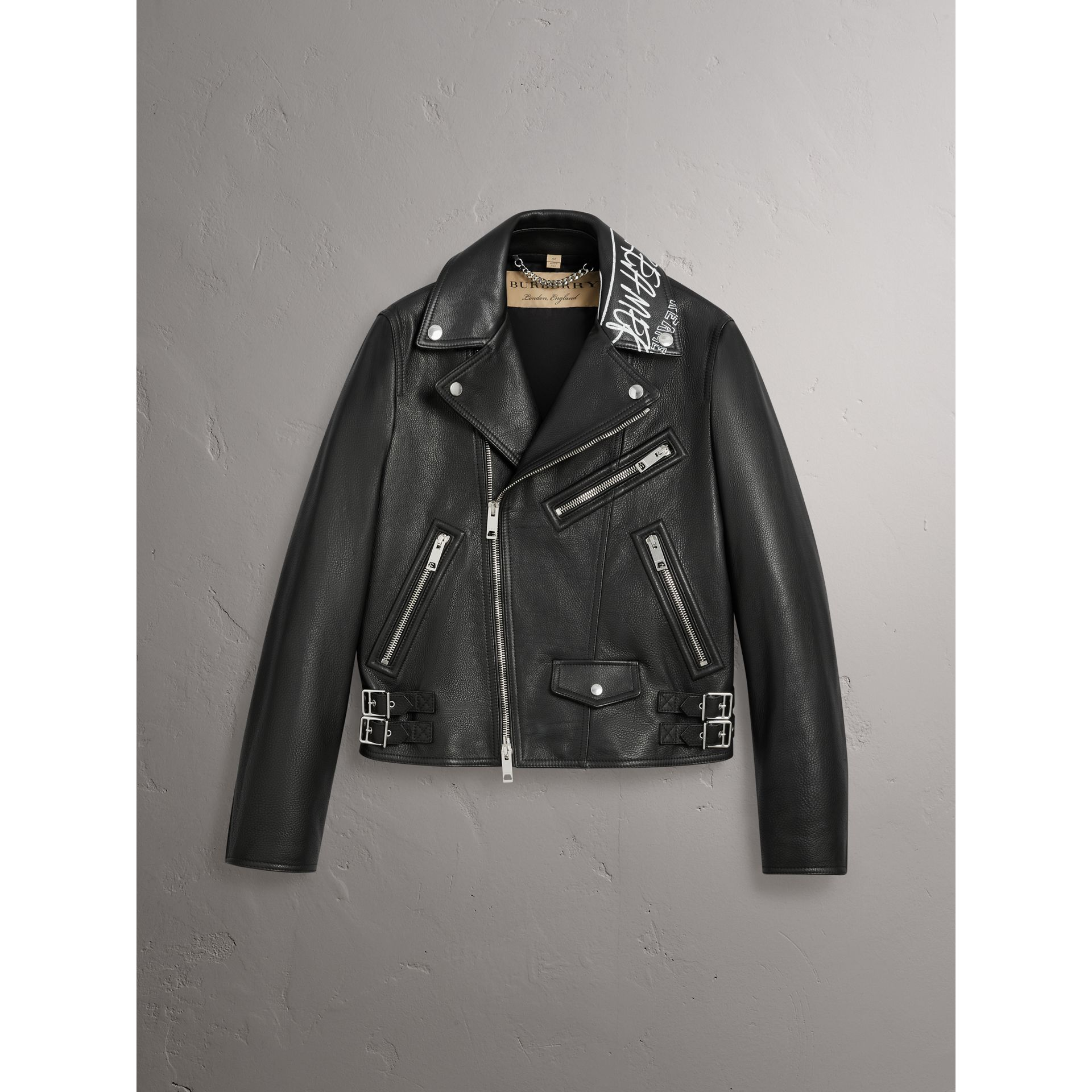 Burberry x Kris Wu Leather Biker Jacket in Black - Men | Burberry - gallery image 3