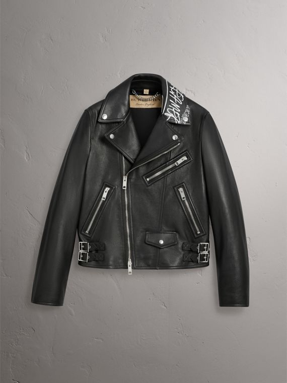 Burberry x Kris Wu Leather Biker Jacket in Black - Men | Burberry Hong Kong - cell image 3