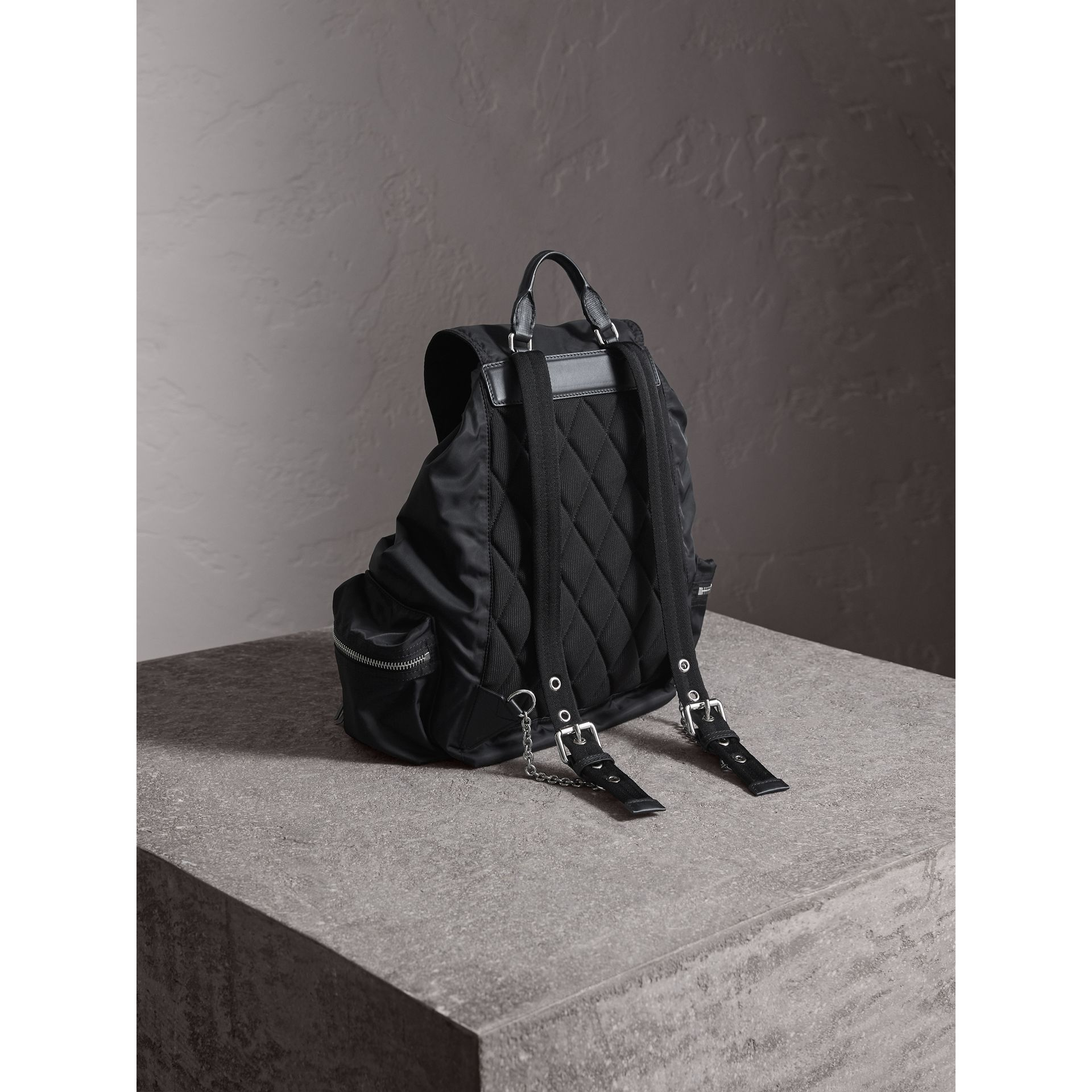 The Large Rucksack in Technical Nylon and Leather in Black/black - Women | Burberry - gallery image 4
