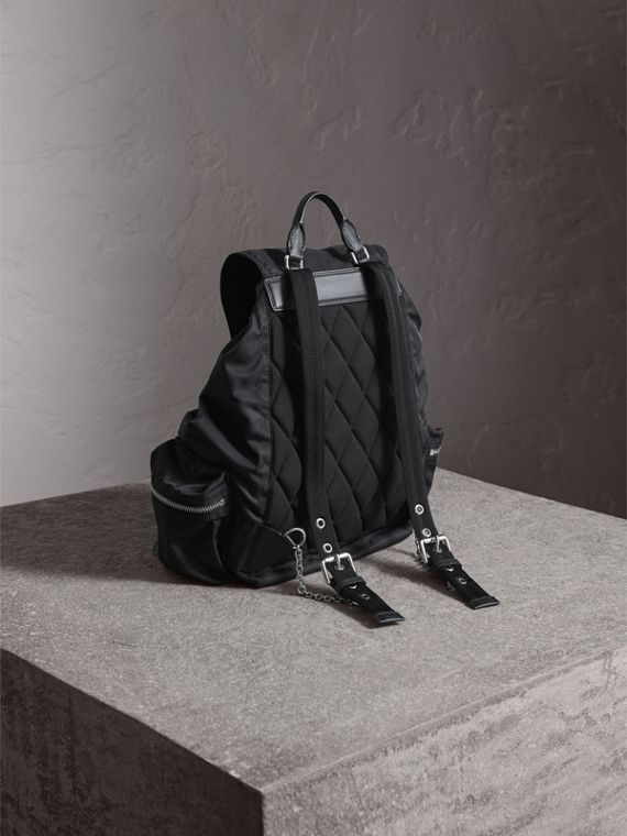The Large Rucksack in Technical Nylon and Leather in Black/black - Women | Burberry - cell image 3