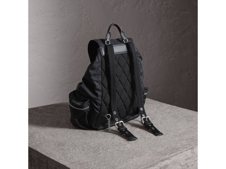 The Large Rucksack in Technical Nylon and Leather in Black/black - Women | Burberry - cell image 4